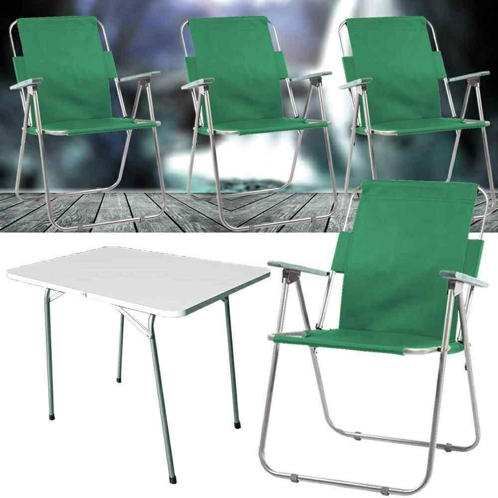 Yekta Piknik Masa ve Piknik Sandalye Bahçe Sandalyesi 4+1 Yeşil