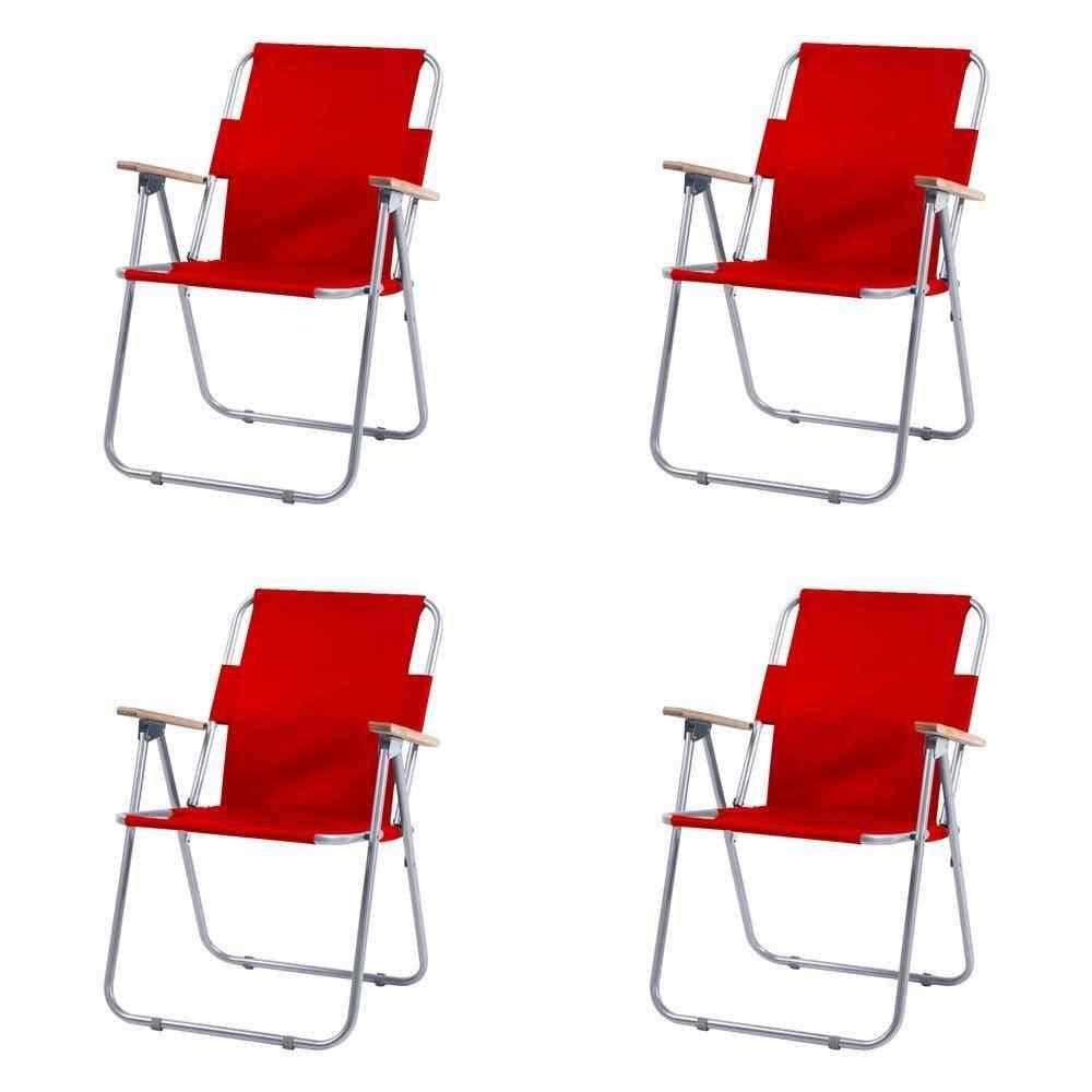 Yekta İbiza Katlanır Piknik Sandalyesi 4 Adet Kırmızı P405