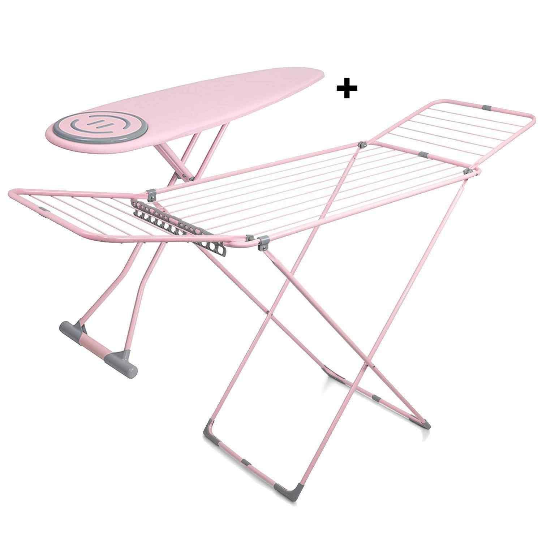 Doğrular Premium Ütü Masası ve Present Çamaşır Kurutmalık Pembe