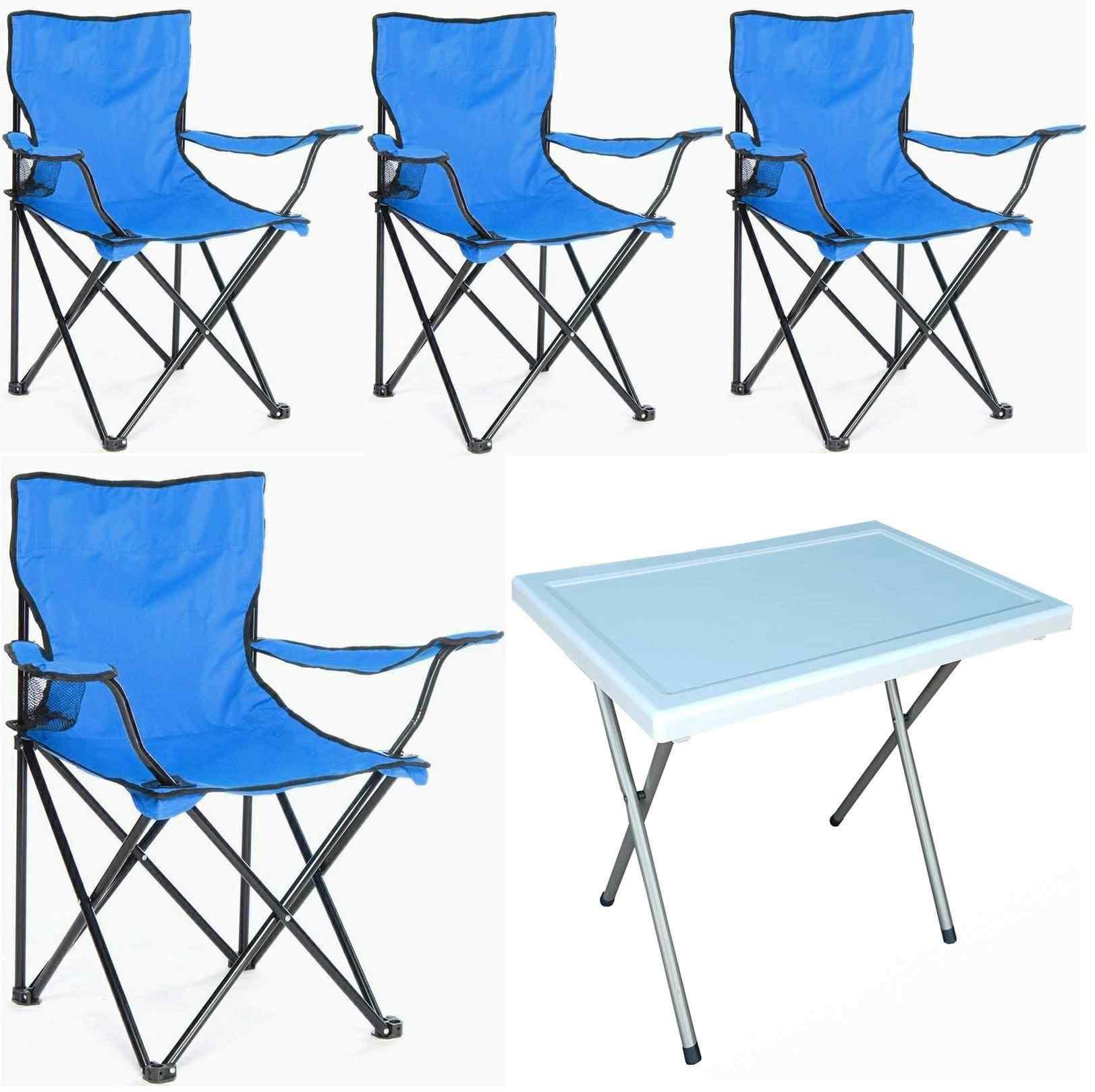 Beco Katlanabilir Kamp Sandalyesi Koltuk ve Masa Seti Mavi 4+1