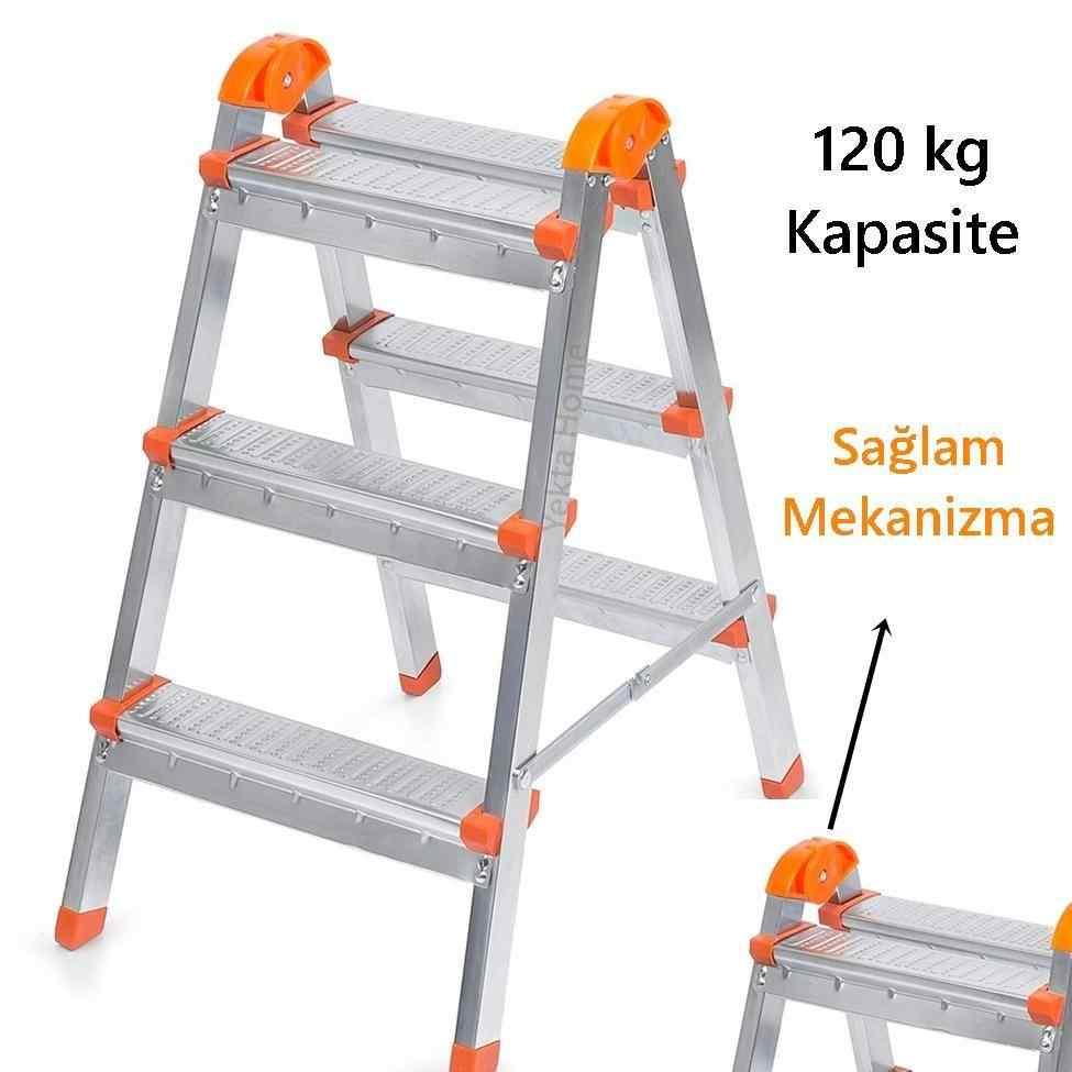 Çift Çıkışlı 3+3 Basamaklı Merdiven Dayanıklı Sağlam Merdivenler