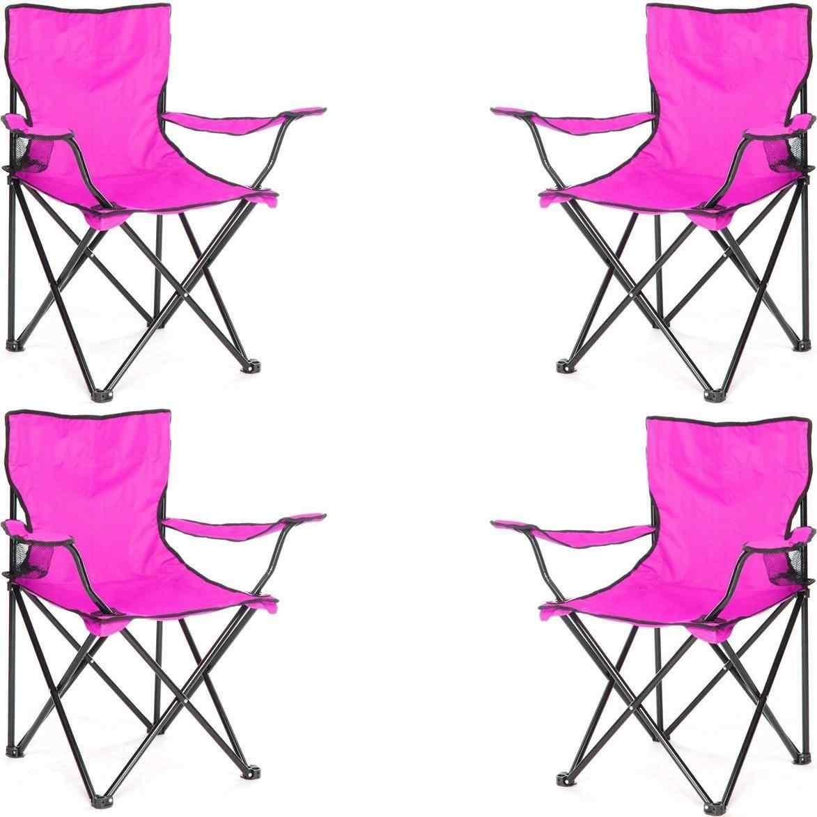 Çantalı Kamp Sandalyesi Balıkçı Plaj Piknik Koltuk Lila 4 Adet