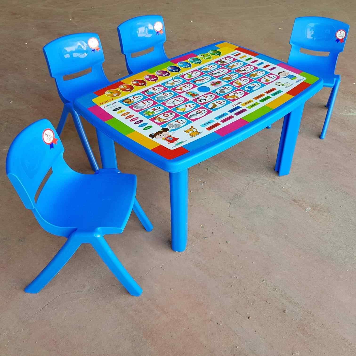 Holiday Çocuk Masa Seti Türkçe Desenli Eğitici Masa +4 Sandalye