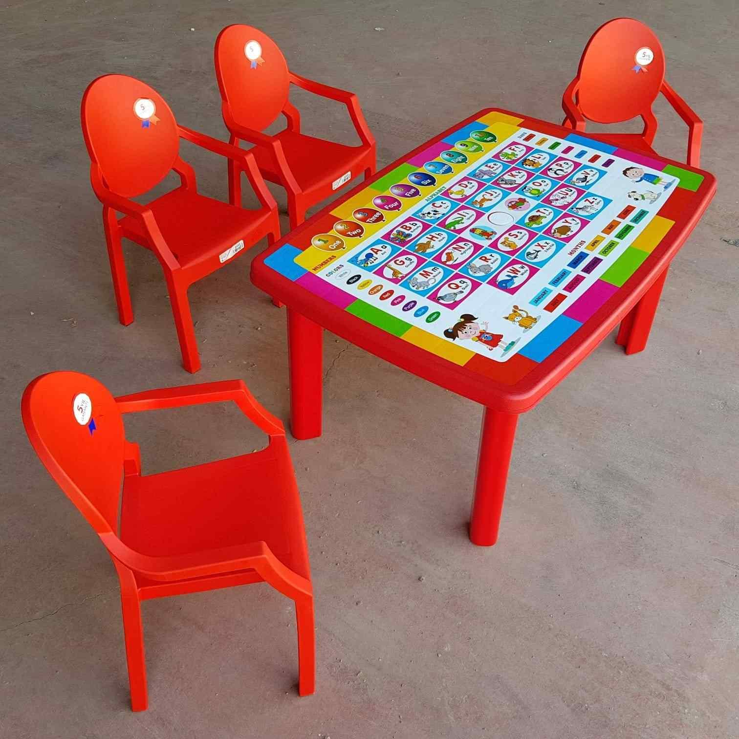 Afacan Çocuk Masa Seti Türkçe Desenli Eğitici Masa +4 Sandalye K