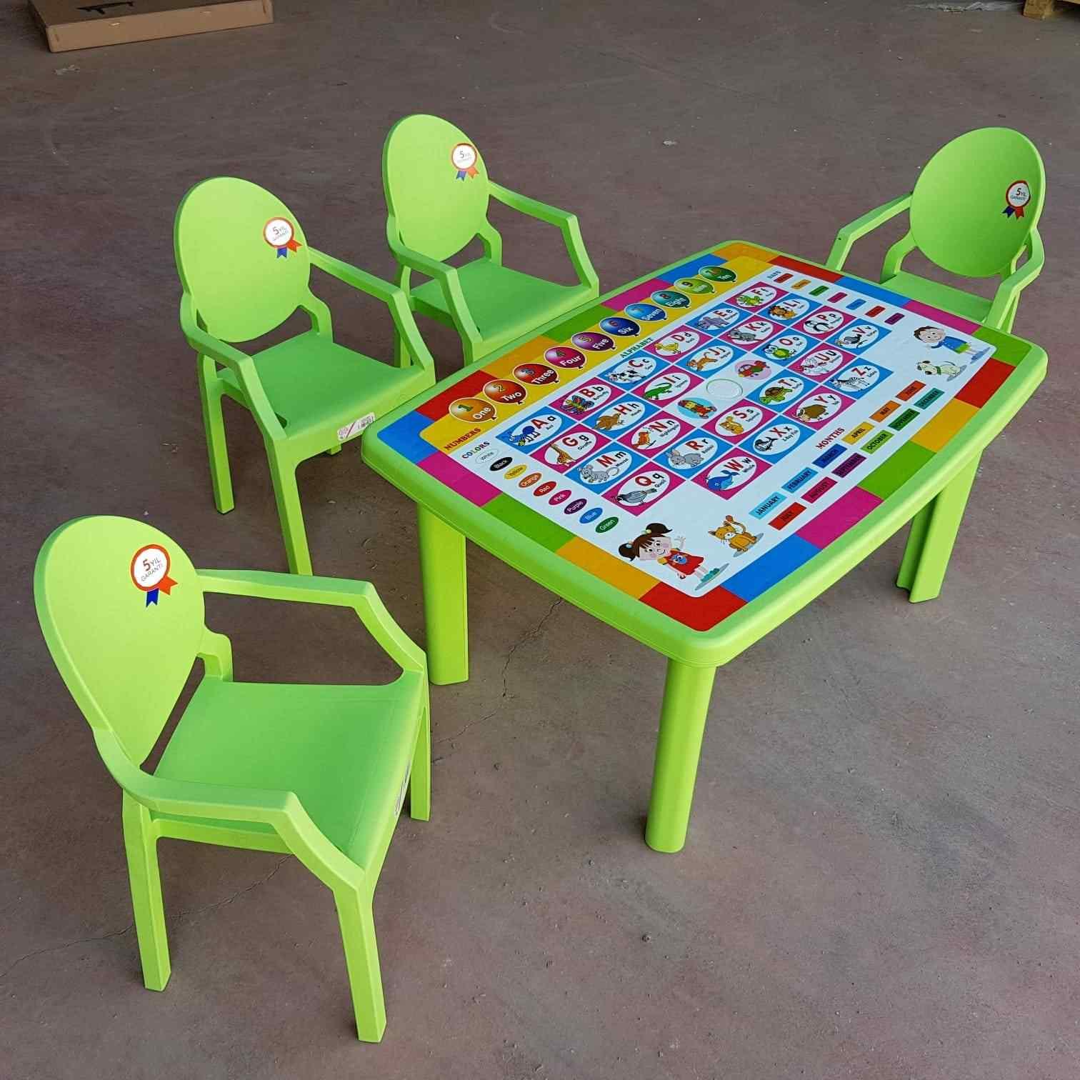 Afacan Çocuk Masa Seti İngilizce Desenli Eğitici Masa +4 Sandaly