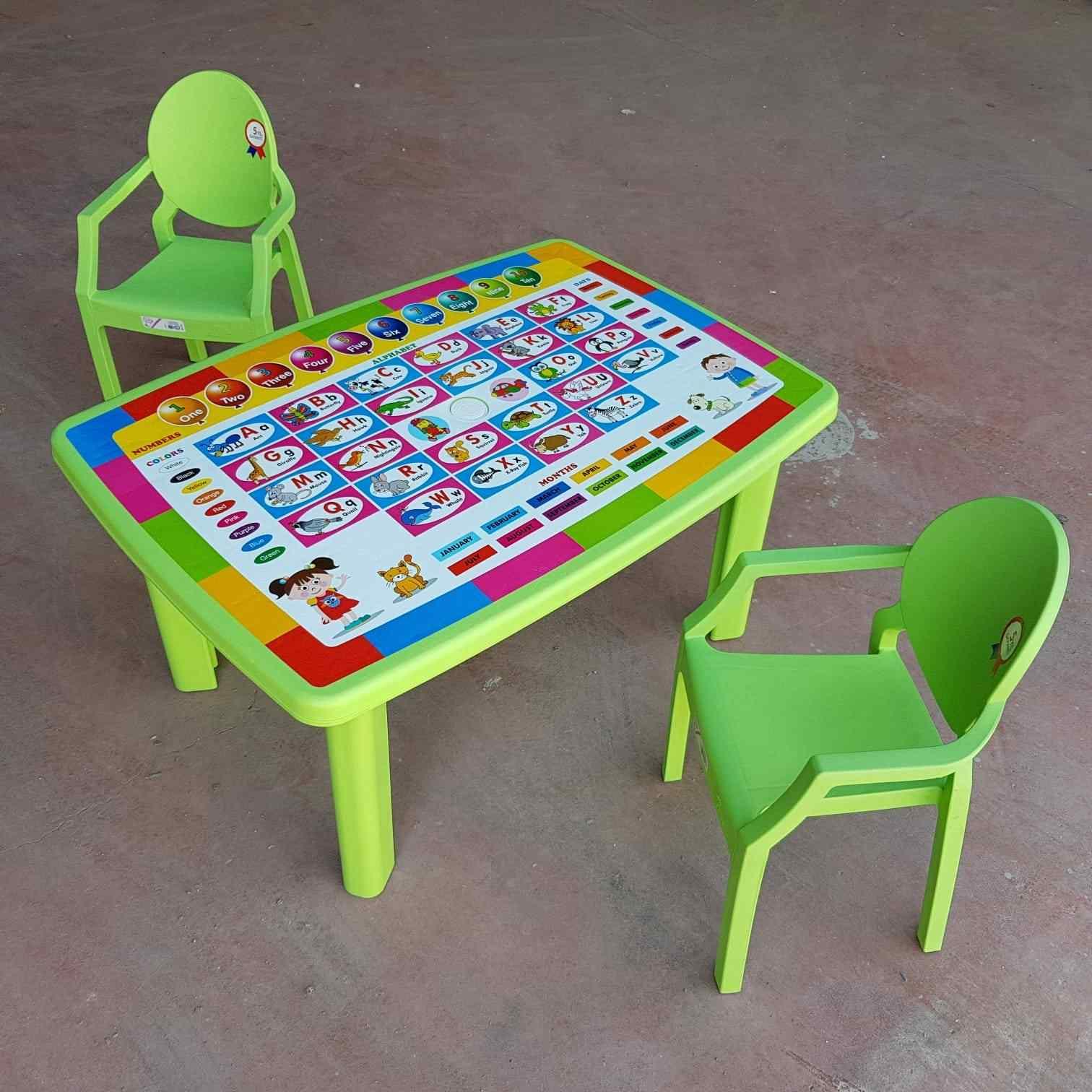 Afacan Çocuk Masa Seti İngilizce Desenli Eğitici Masa +2 Sandaly