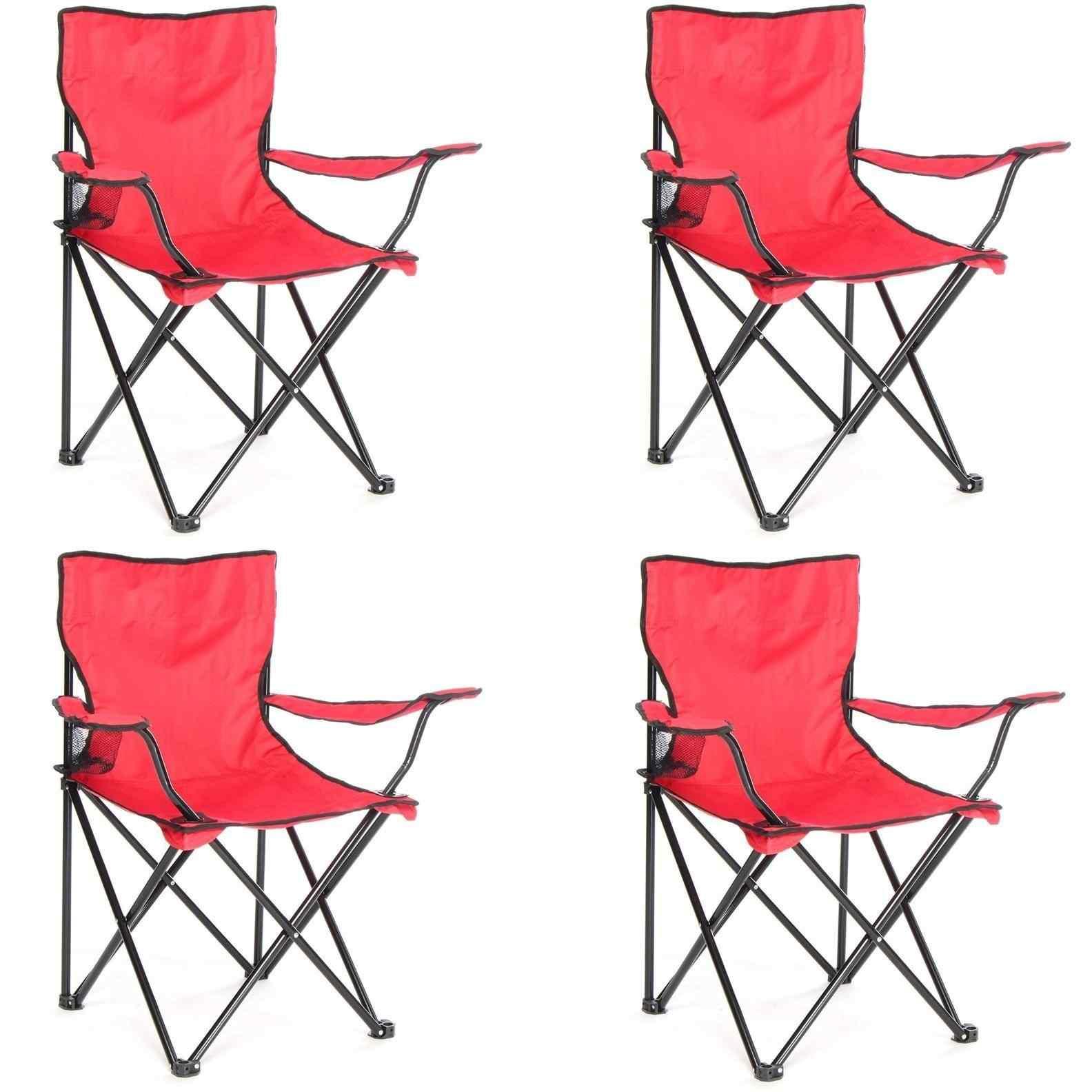 Çantalı Kamp Sandalyesi Balıkçı Plaj Piknik Koltuk Kırmızı 4 Ade