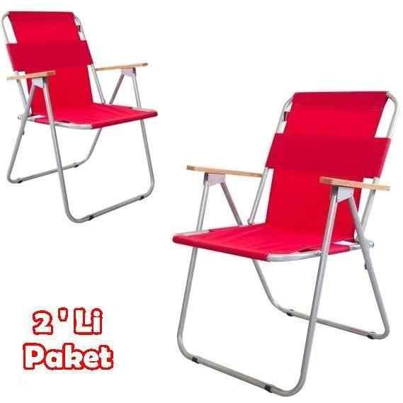 Yekta İbiza Katlanır Piknik Sandalyesi 2 Adet Kırmızı P205