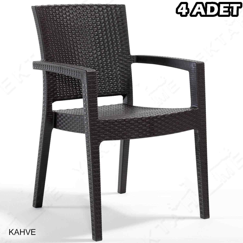 Novussi Paris Rattan Koltuk Bahçe Sandalyesi Kahverengi 4 Adet