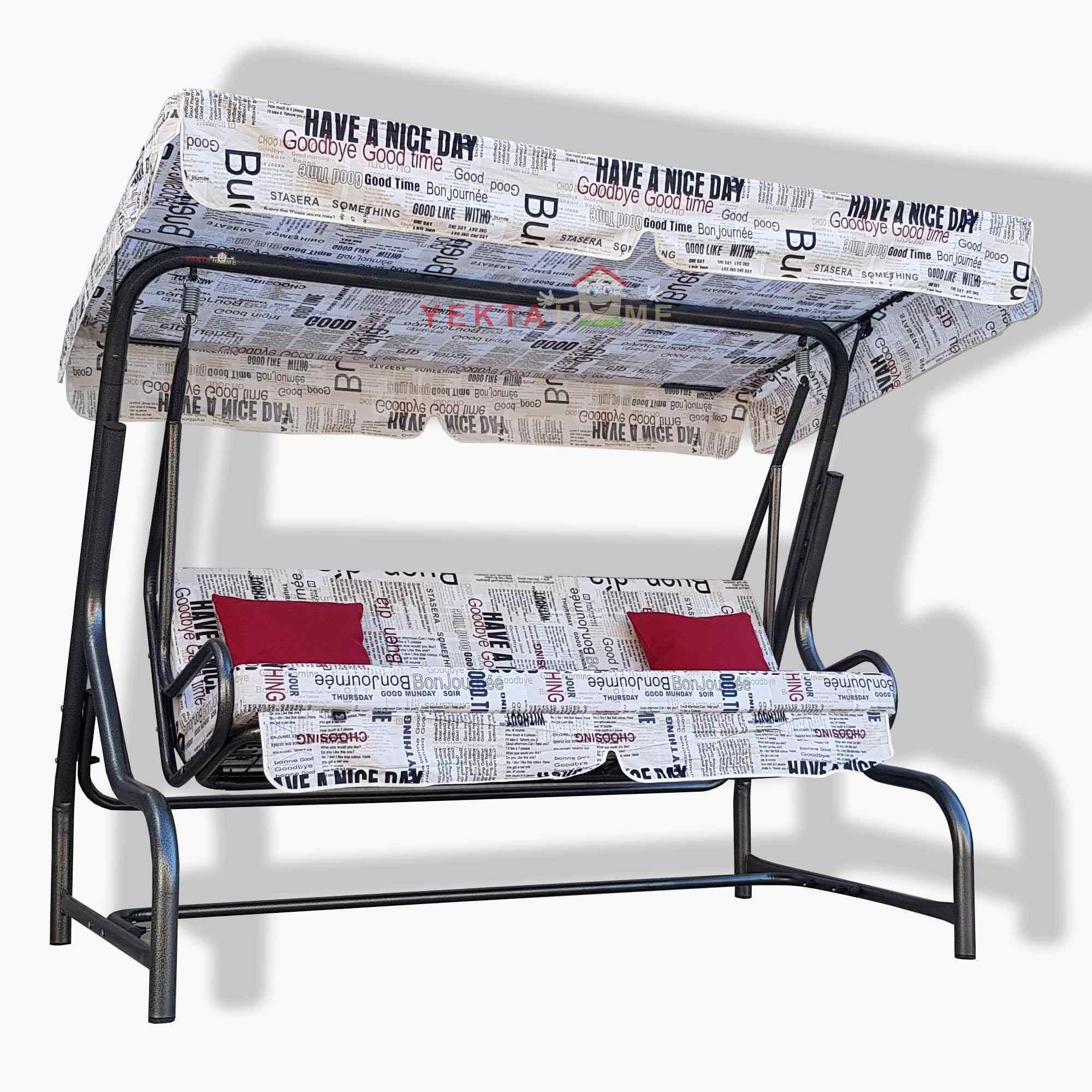 Yekta Gazete 3 Kişilik Bahçe Salıncağı Balkon Teras Salıncak 200 cm