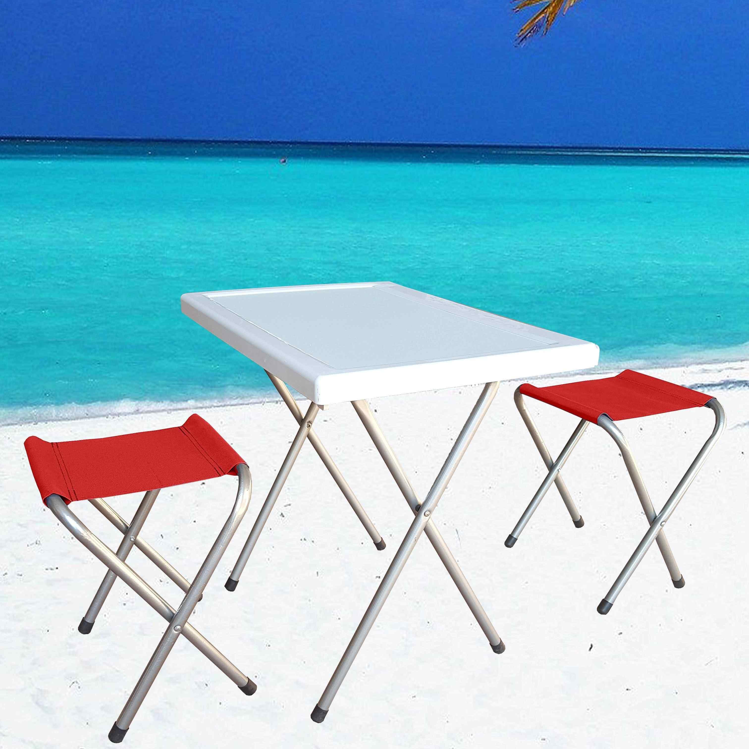 Small Portatif Piknik Seti 2 Tabure 1 Katlanır Masa Kırmızı