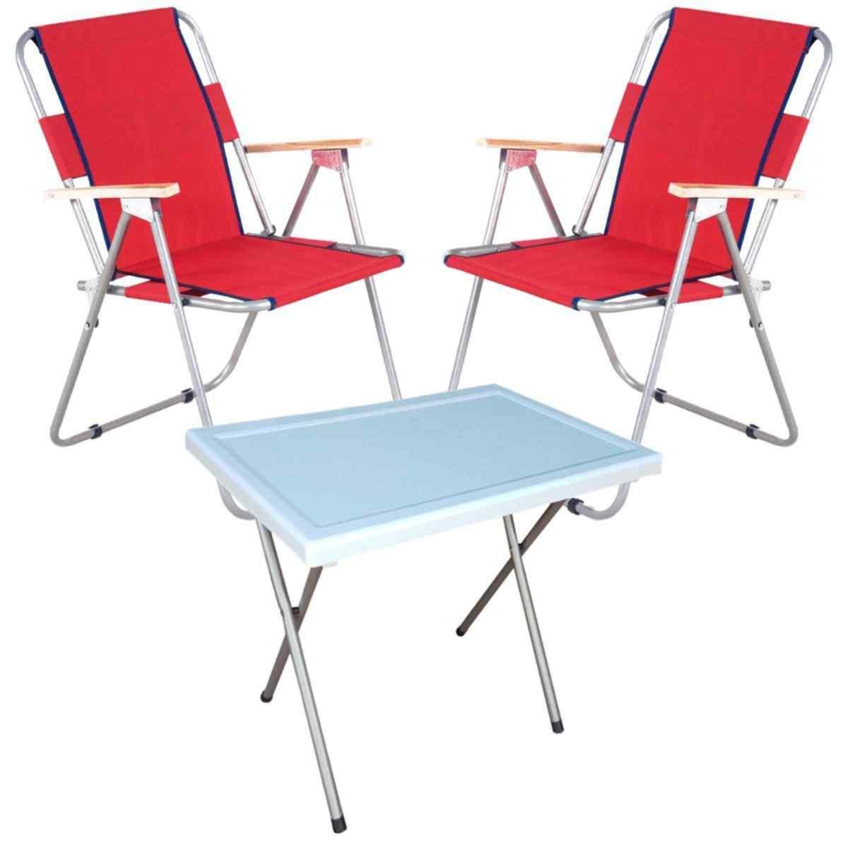 Vesto Katlanabilir Piknik Sandalyesi Ve Portatif Masa 2+1 Kırmız