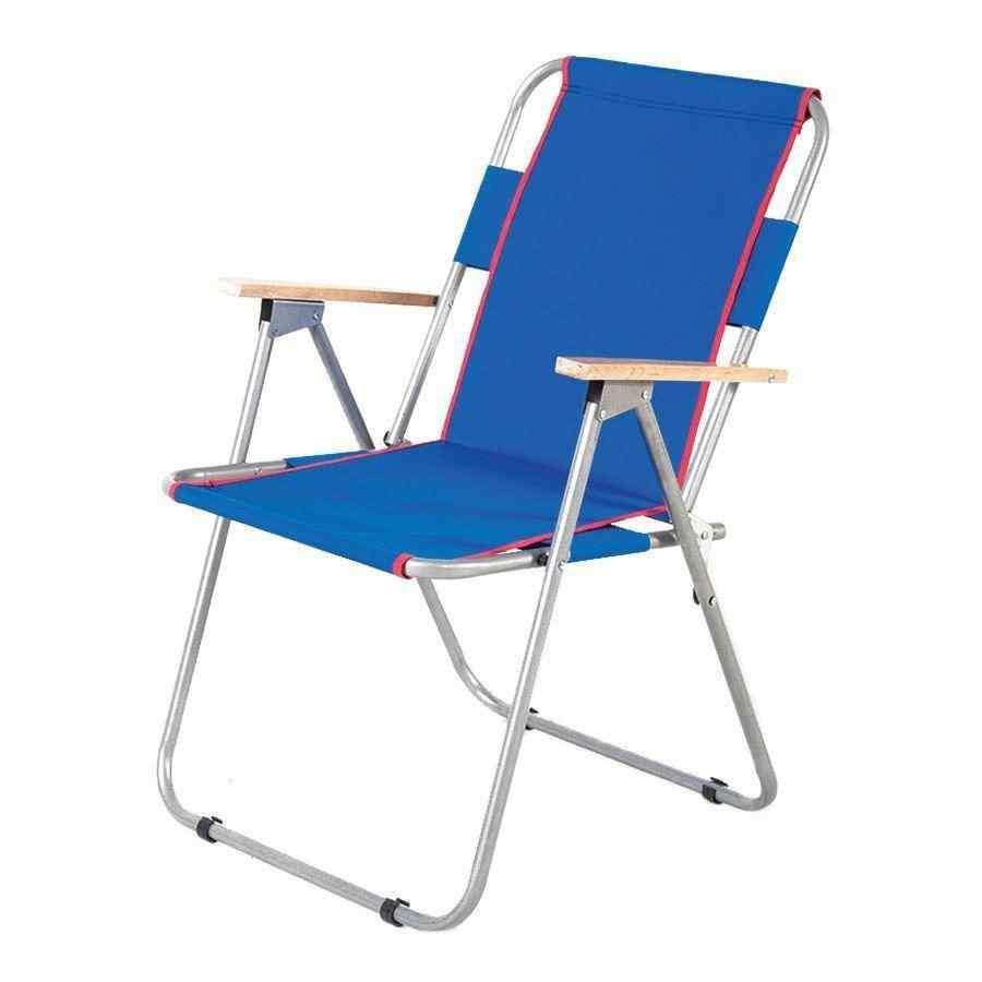 İbiza Ahşap Kollu Sandalye Katlanabilir Piknik Sandalyesi Mavi