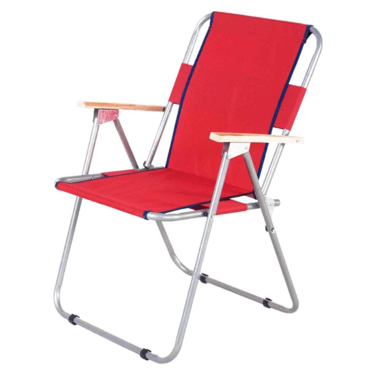 İbiza Ahşap Kollu Sandalye Katlanabilir Piknik Sandalyesi Kırmızı