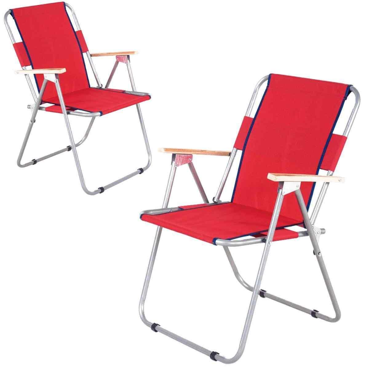 İbiza Ahşap Kollu Sandalye Katlanabilir Piknik Sandalyesi Kırmızı 2 Adet