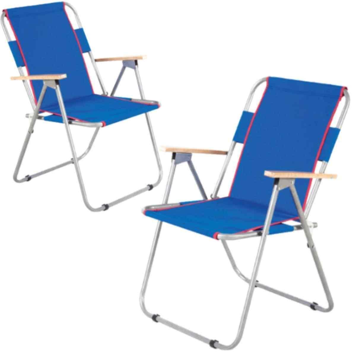 İbiza Ahşap Kollu Sandalye Katlanabilir Piknik Sandalyesi Mavi 2 Adet