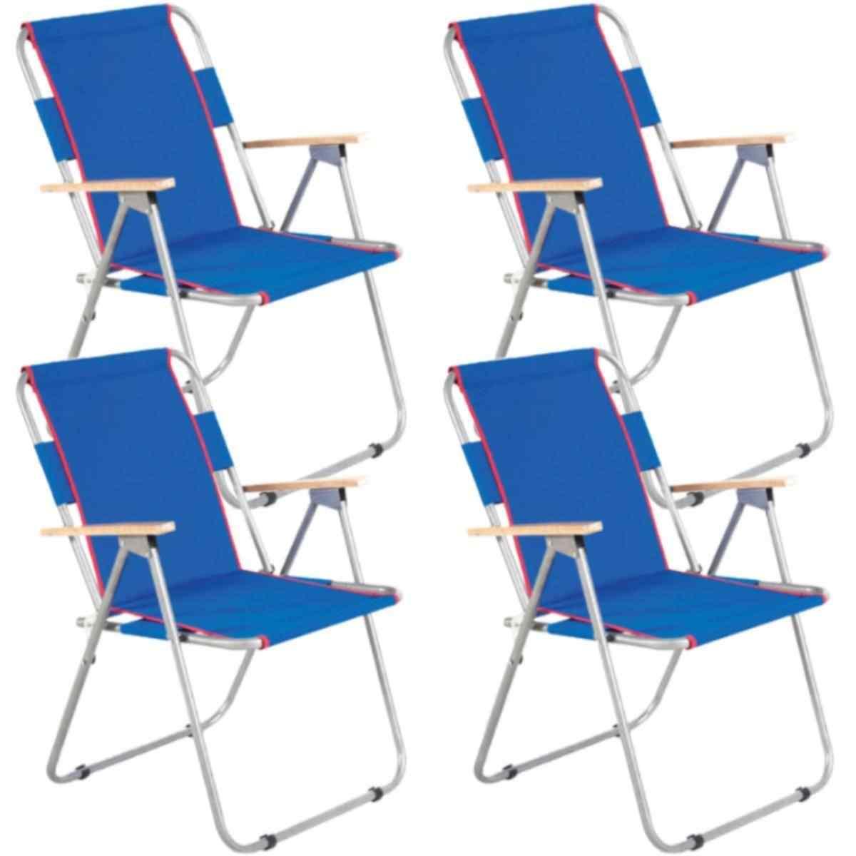 İbiza Ahşap Kollu Sandalye Katlanabilir Piknik Sandalyesi Mavi 4 Adet
