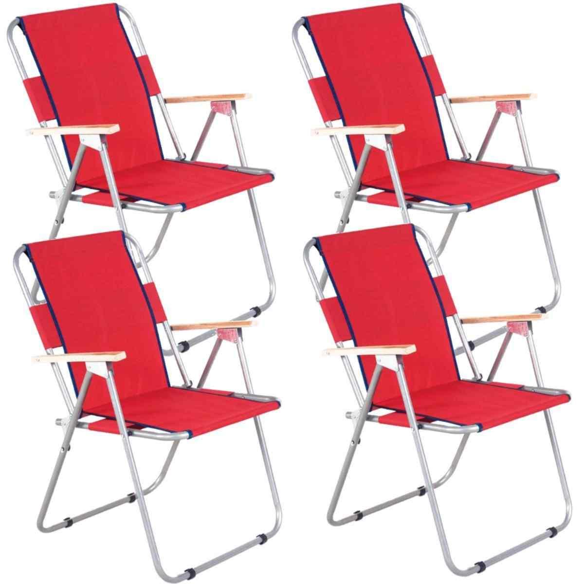 İbiza Ahşap Kollu Sandalye Katlanabilir Piknik Sandalyesi Kırmızı 4 Adet