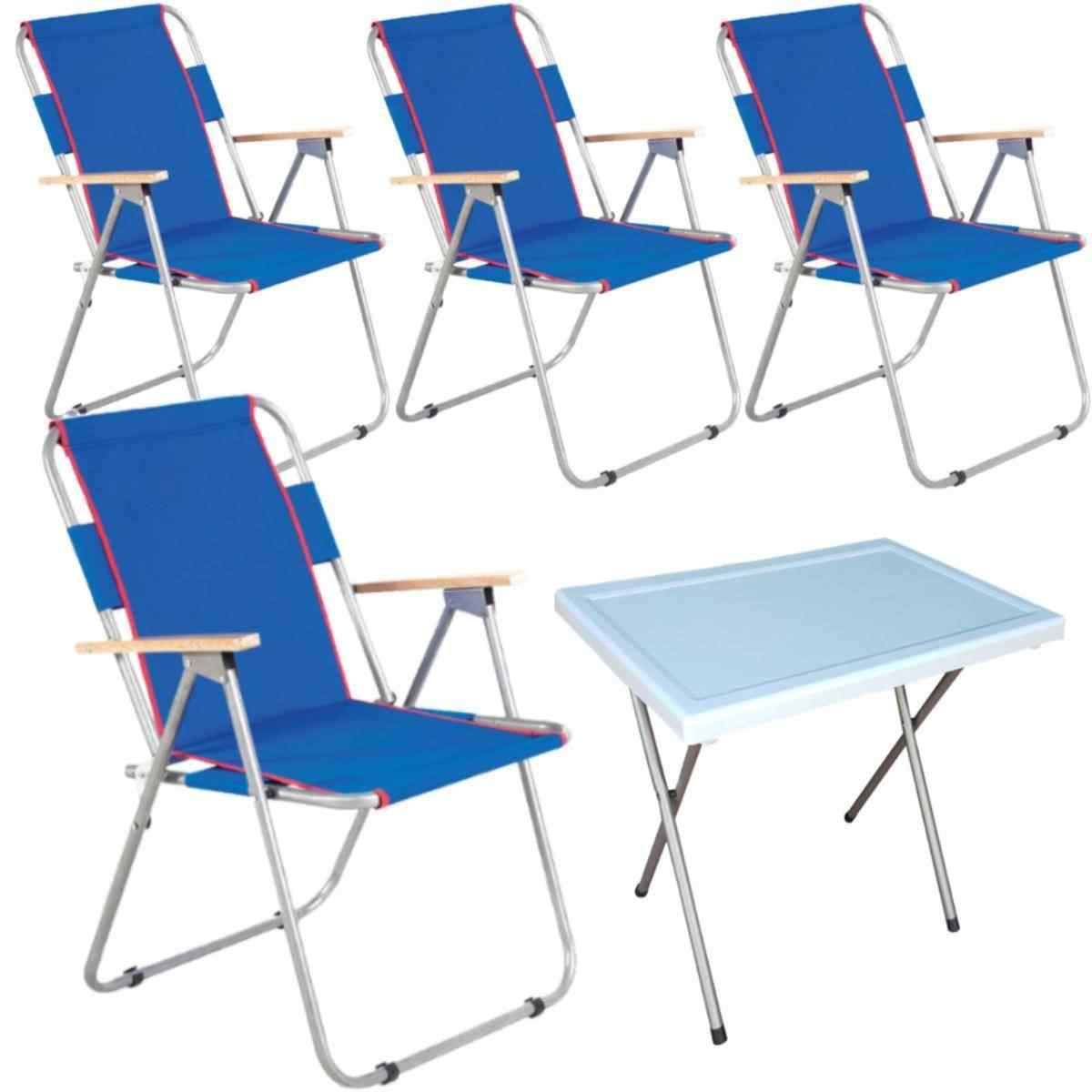 Vesto Katlanabilir Piknik Sandalyesi Ve Portatif Masa 4 +1 Mavi