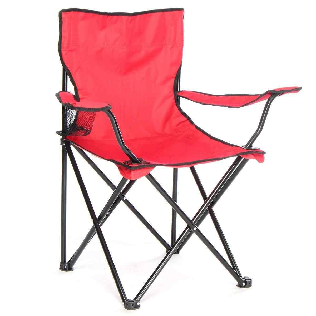 Çantalı Kamp Sandalyesi Balıkçı Plaj Piknik Koltuk Kırmızı