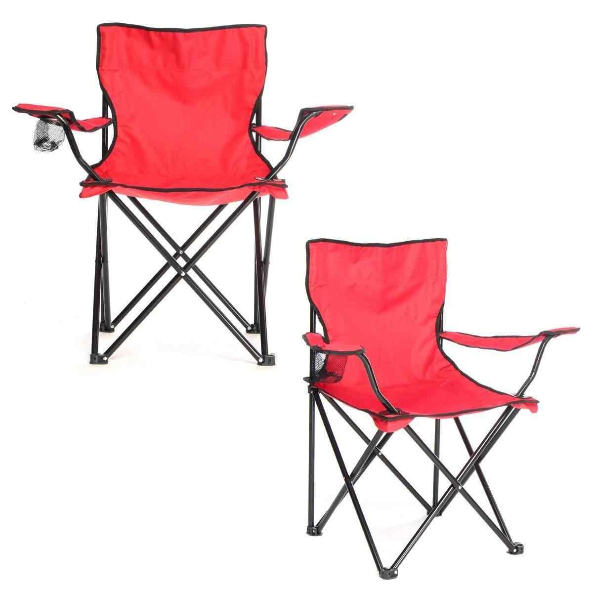 Kamptex Kamp Seti Katlanır Kamp Sandalyesi + Bez Masa 2+1 Kırmızı