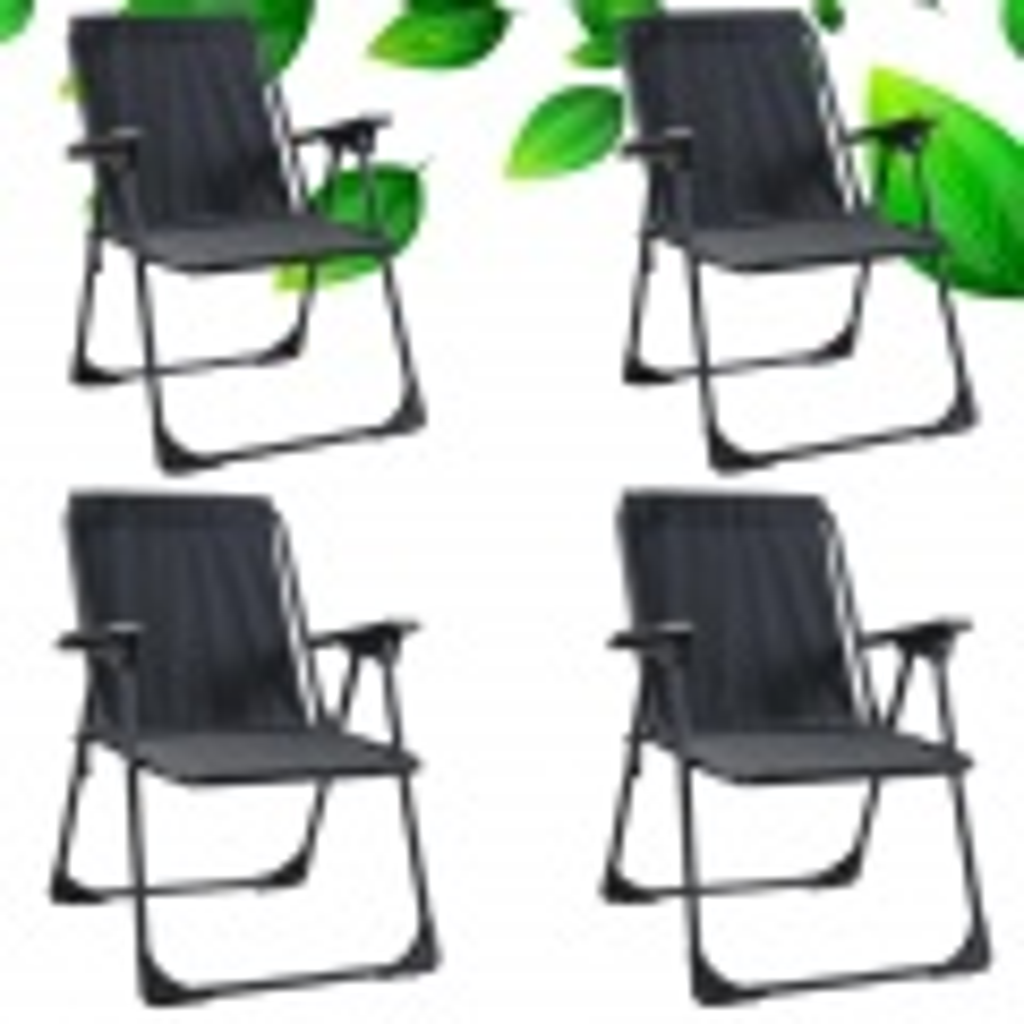Yekta Star Piknik Plaj Sandalyesi Kamp Sandalyesi Siyah 4 Adet