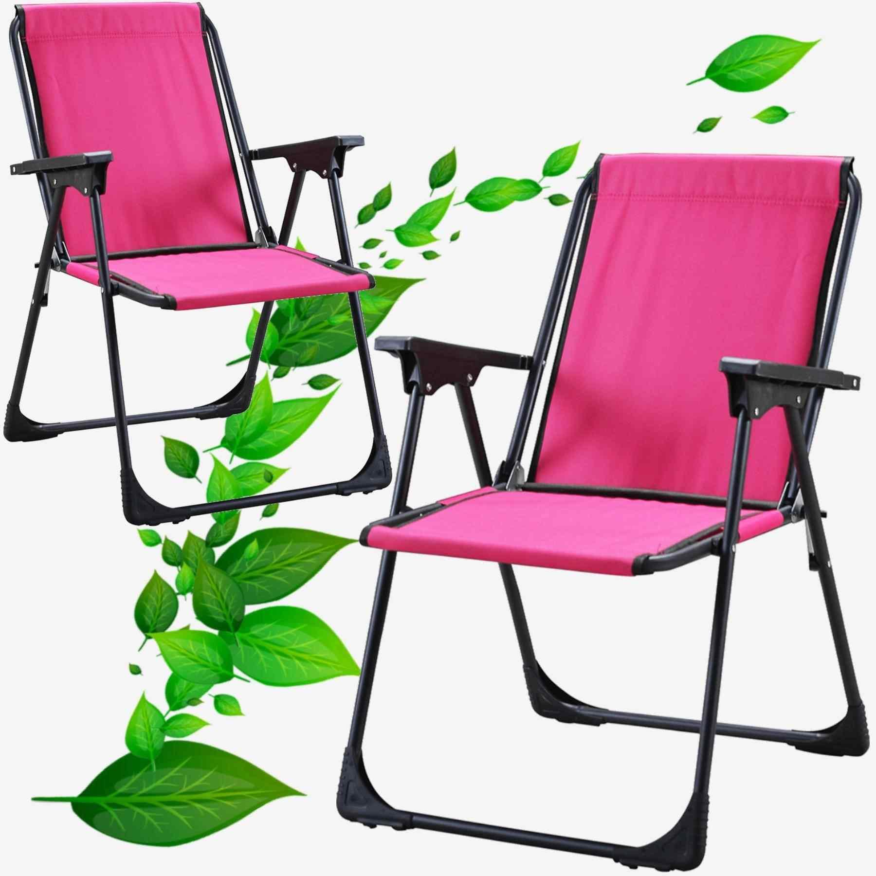 Starlüx Piknik Sandalye Masa Seti 42x60 Masa Ve 2li Kamp Sandalyesi Pembe
