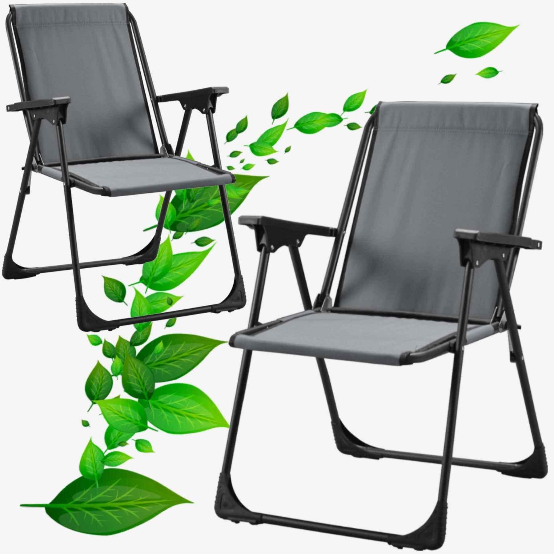Star Katlanır Koltuk Piknik Plaj Sandalyesi Kamp Sandalyesi Gri 2 Adet