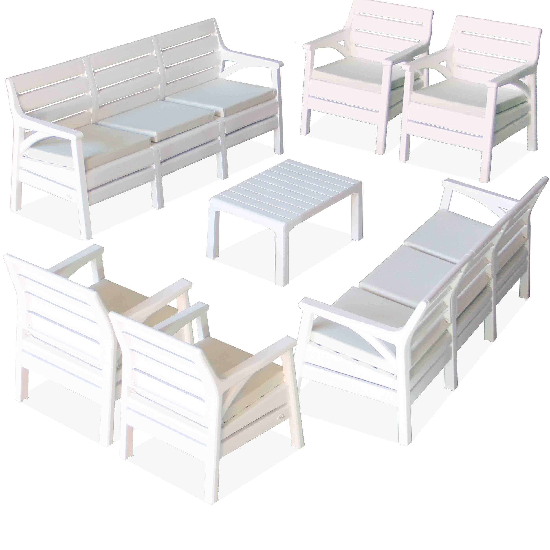 Holiday Lyon Bahçe Mobilyası Oturma Grubu Balkon Koltuk Takımı Beyaz