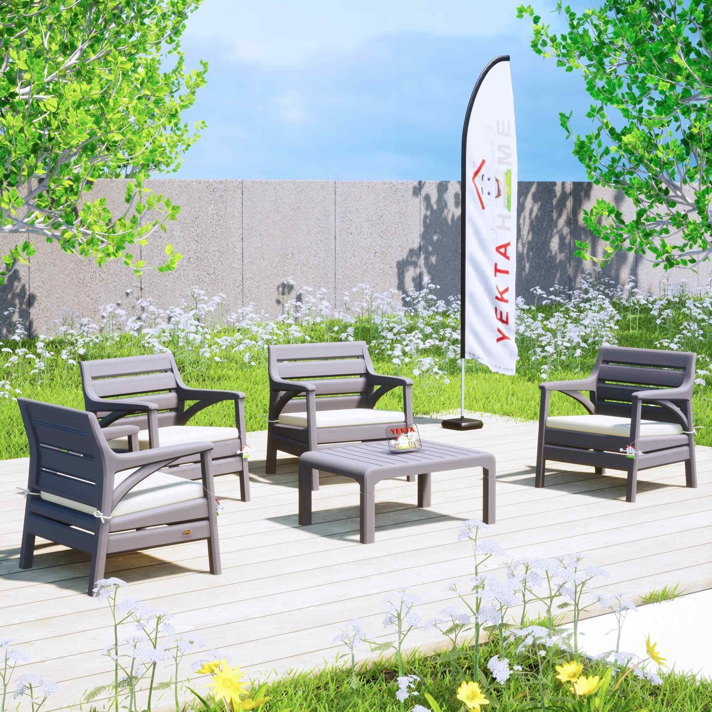 Holiday Madrid Bahçe Mobilyası Balkon Koltuk Takımı Çöl Gri