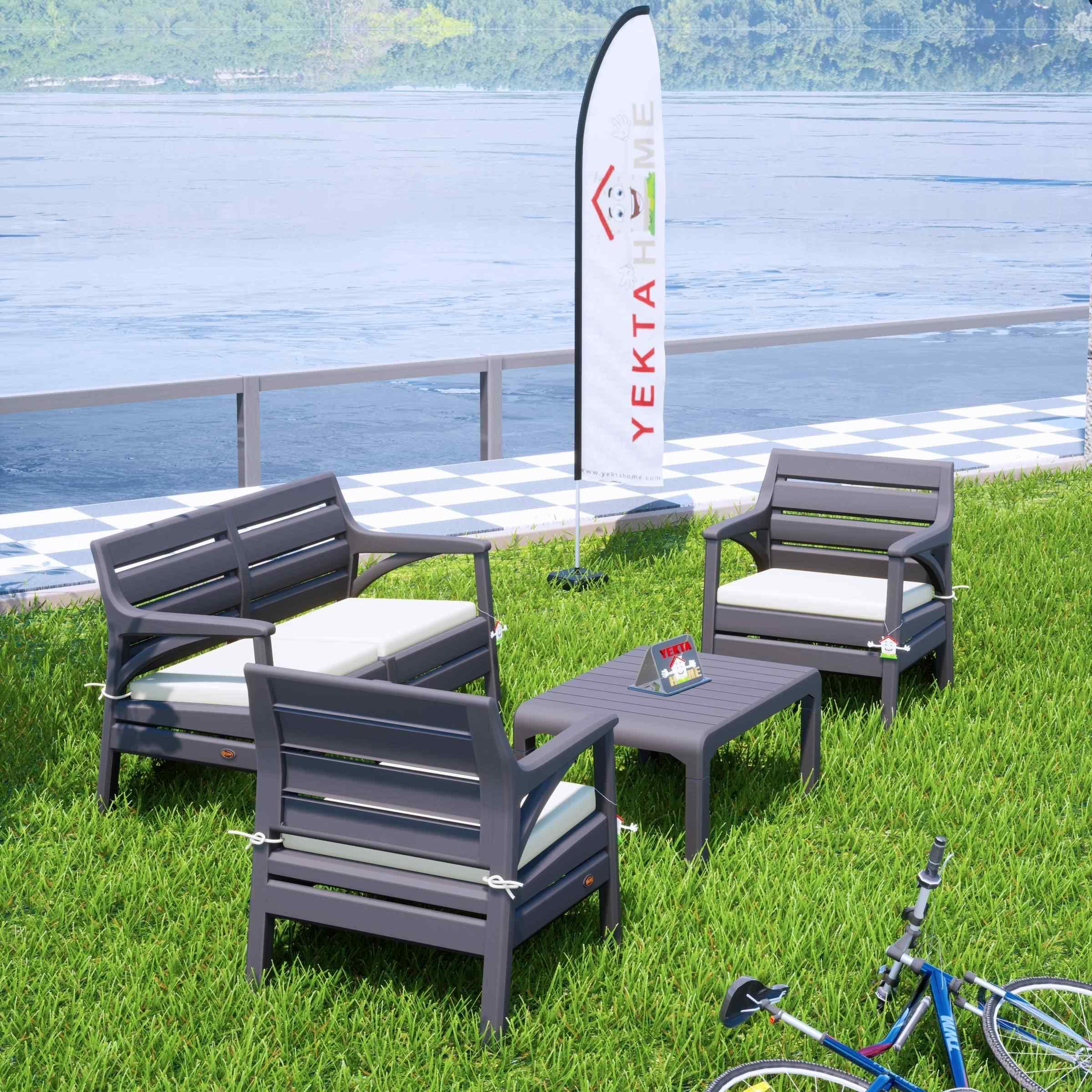 Holiday Miami Bahçe Takımı Balkon Seti Bahçe Mobilyası Çöl Gri