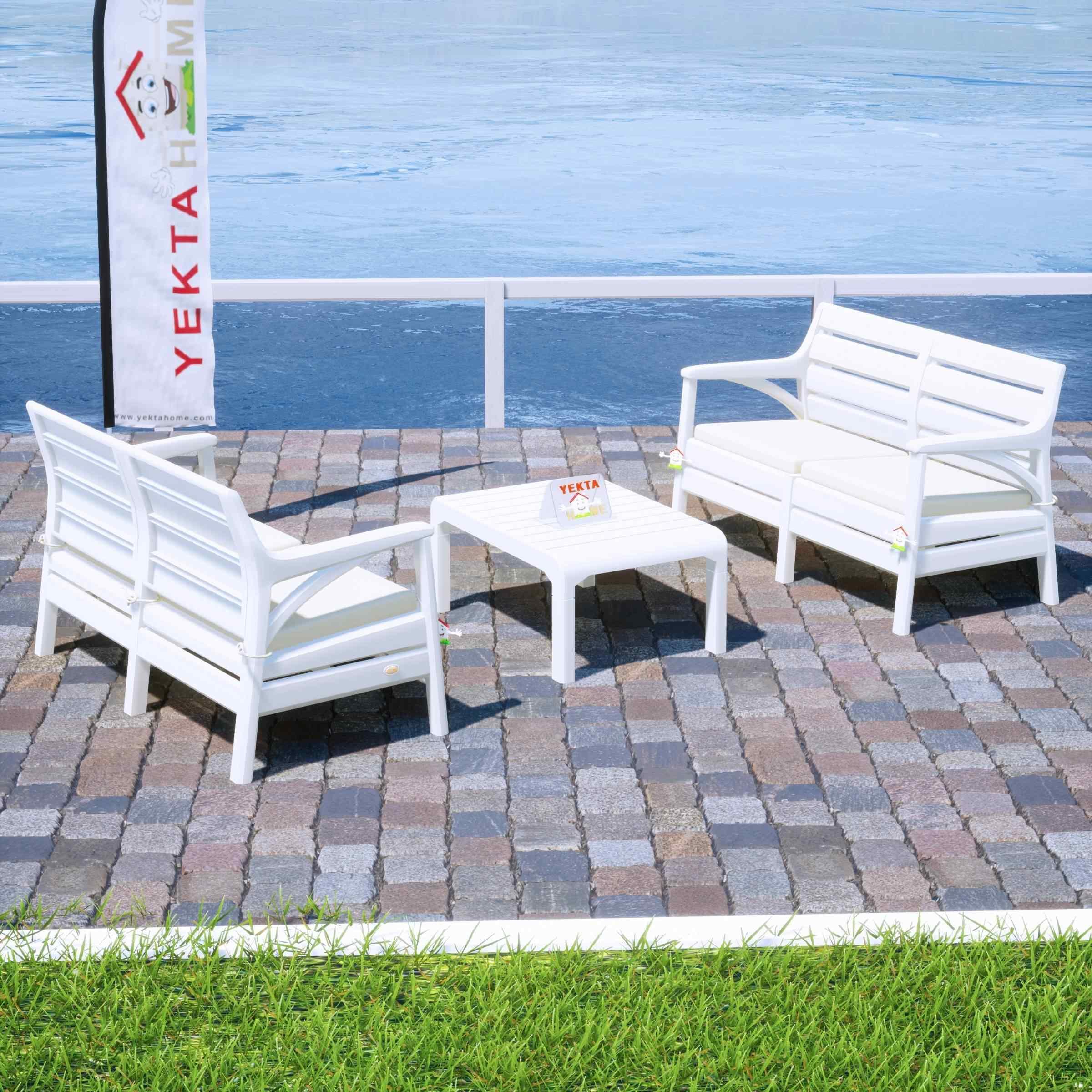 Holiday Torino Bahçe Takımı Oturma Grubu Balkon Seti Beyaz