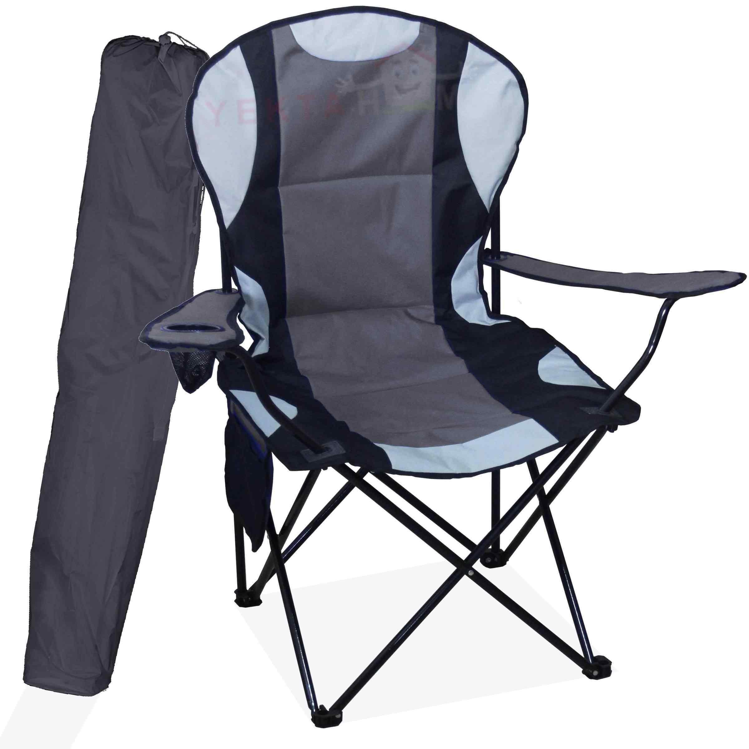 Mega Büyük Kamp Sandalyesi xL Kamp Sandalyesi Katlanır Sandalye Gri