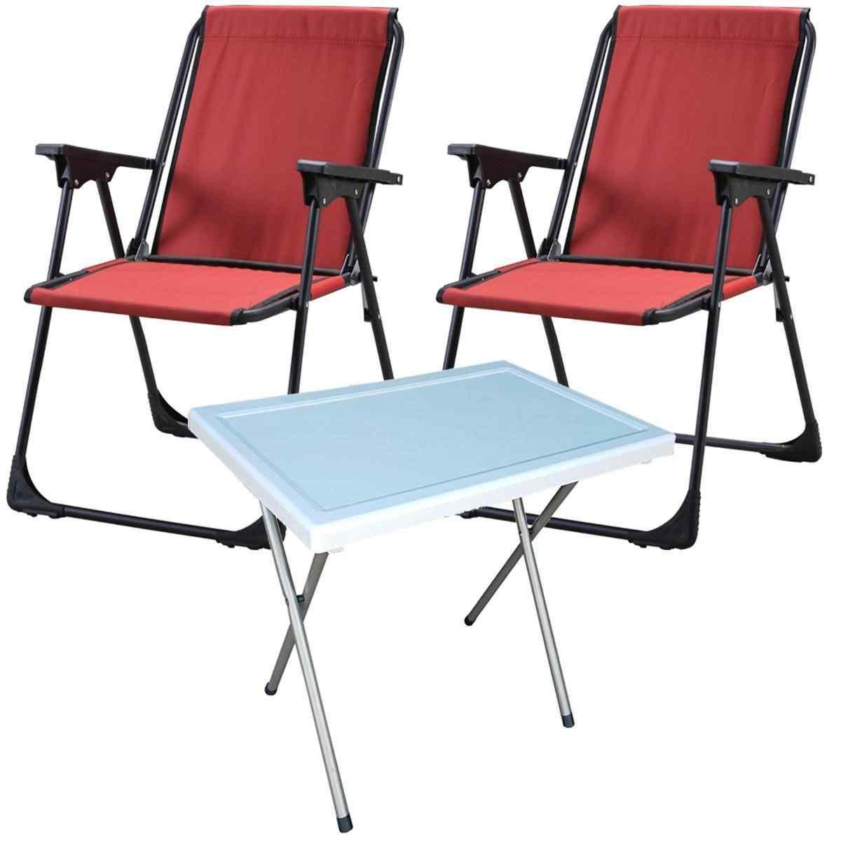 Starlüx Piknik Sandalye Masa Seti 42x60 Masa Ve 2li Kamp Sandalyesi Kırmızı