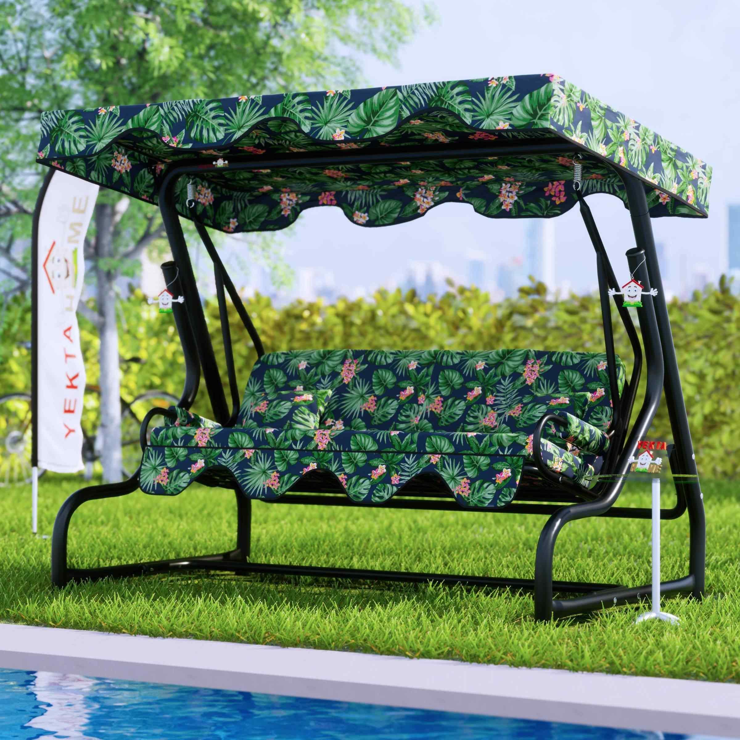 Yekta Tropik 3 Kişilik Bahçe Salıncağı Balkon Salıncak 200 cm