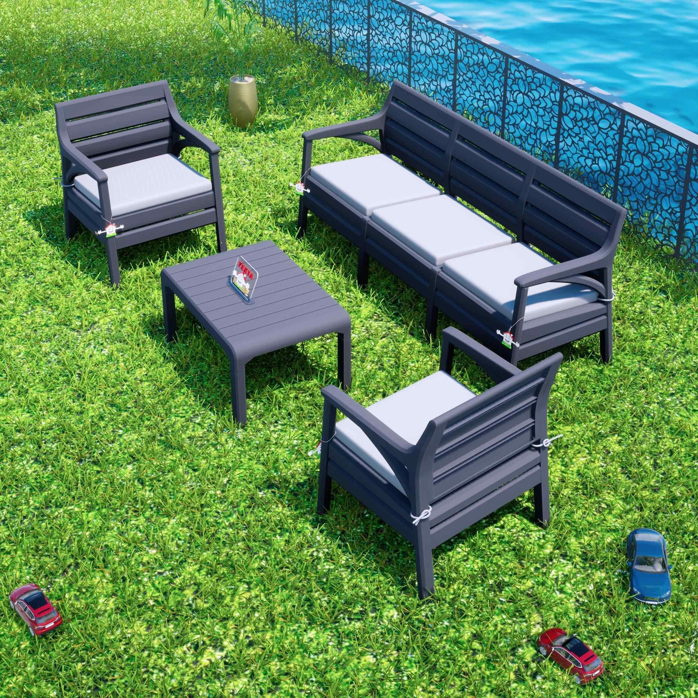 Holiday Hawai Oturma Grubu Bahçe Ve Balkon Koltuk Takımı Antrasit
