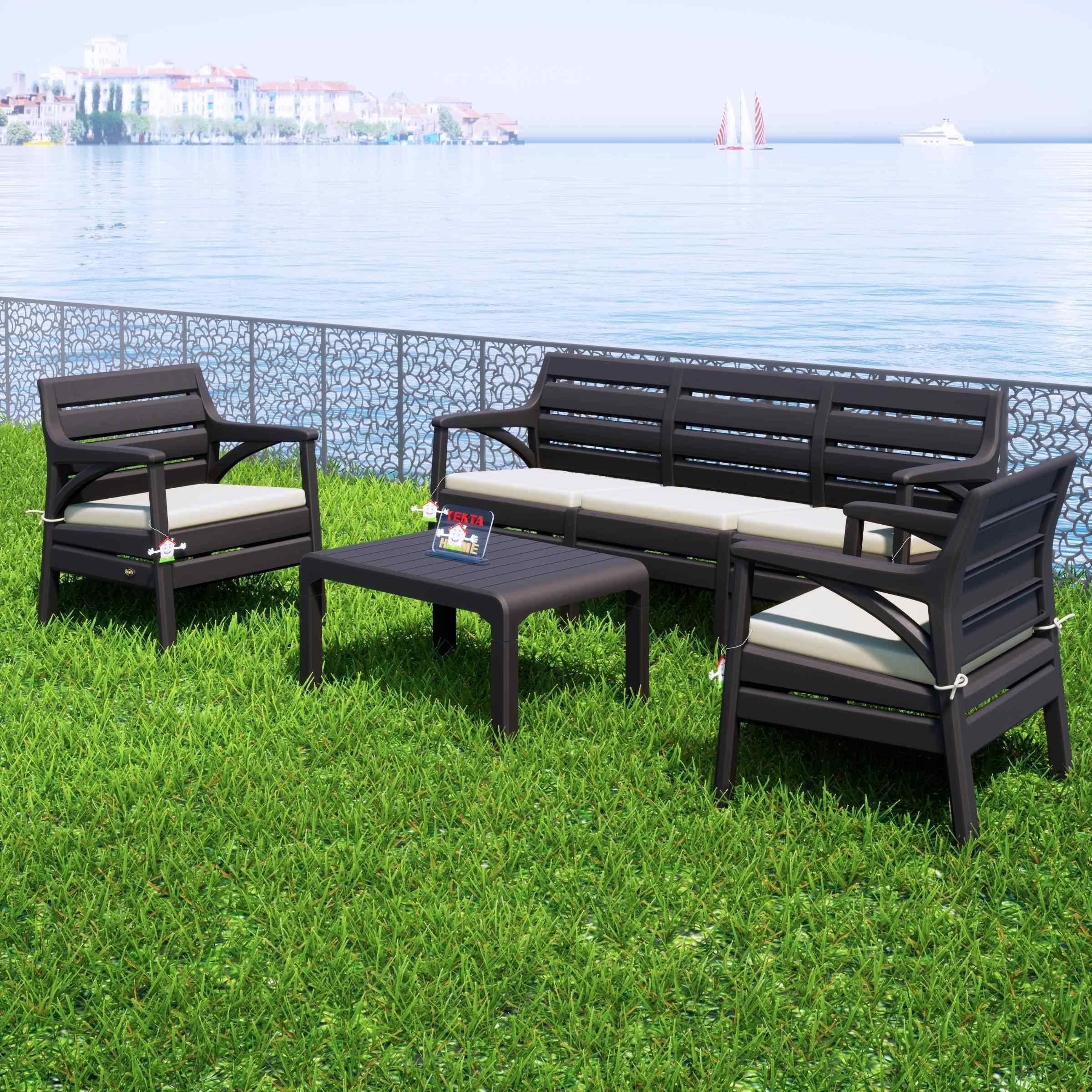 Holiday Hawai Bahçe Mobilyası Oturma Grubu Balkon Koltuk Takımı Kahverengi