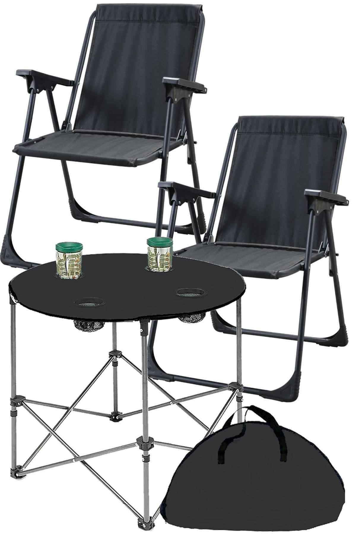 Texstar Kamp Seti Katlanır Piknik Sandalyesi + Bez Masa 2+1 Siyah