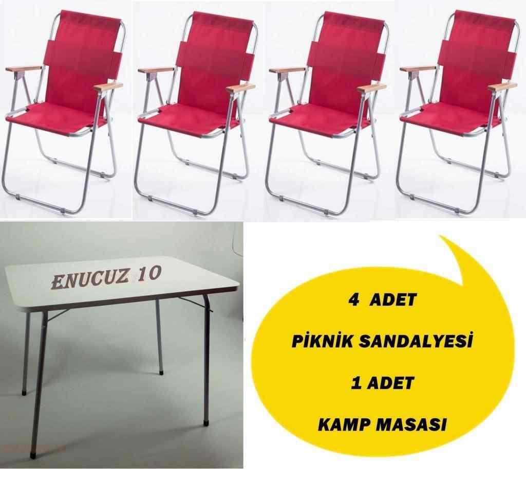Piknik Sandalye Katlanır Masa Kamp Seti Kırmızı 4+1