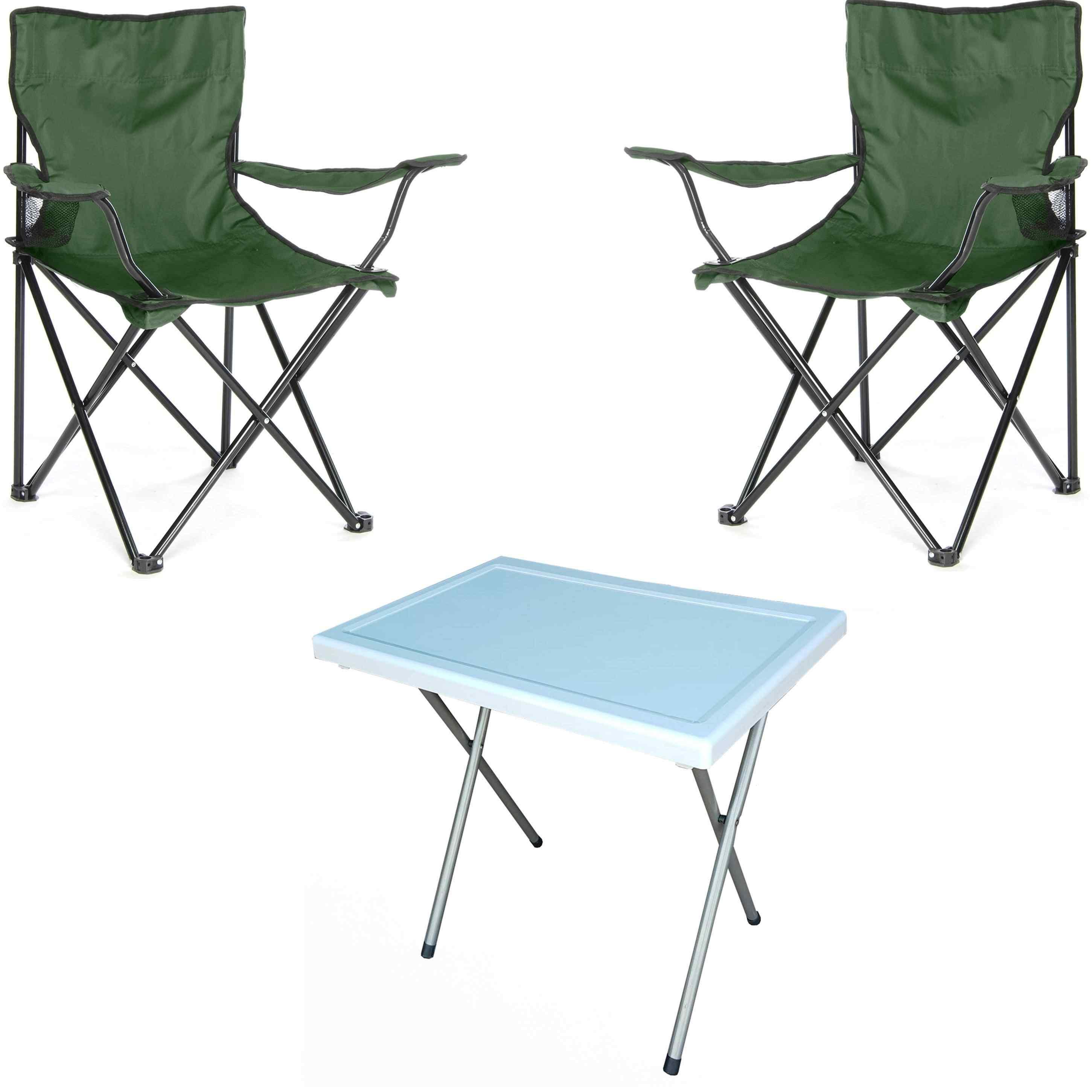 Beco Bahçe Sandalye Takımı Kamp Koltuk ve Masa Seti 2 + 1 K,Yeşi