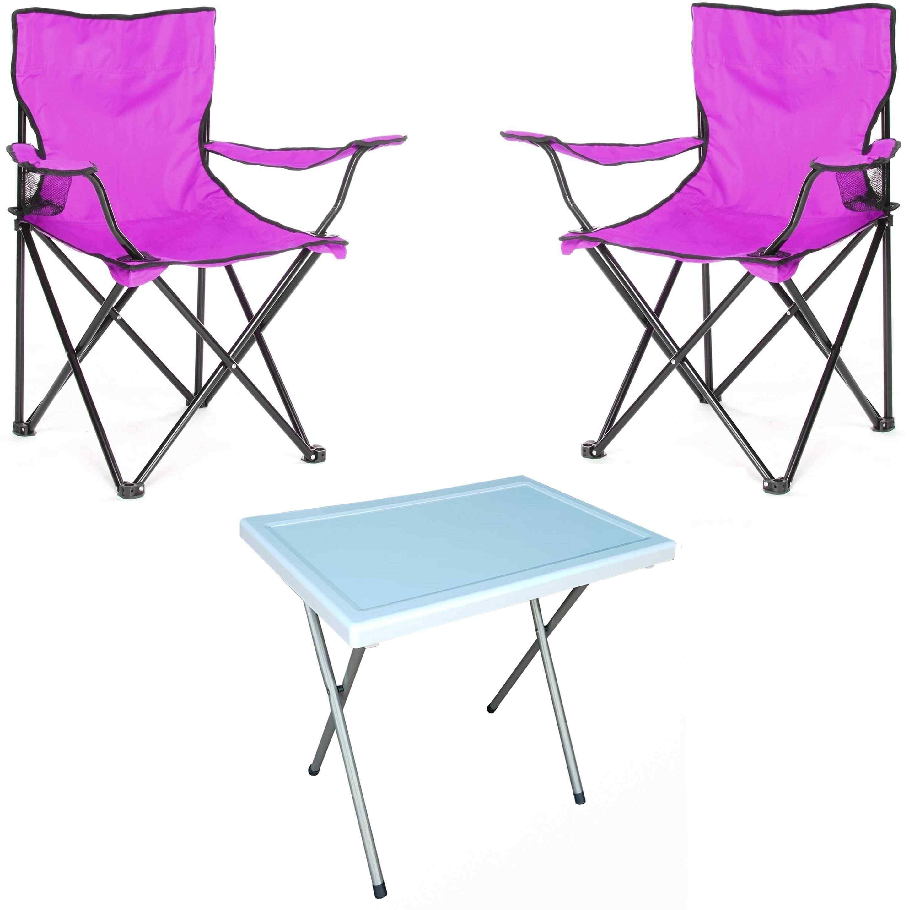 Beco Katlanabilir Kamp Sandalyesi Koltuk ve Masa Seti Lila 2+1