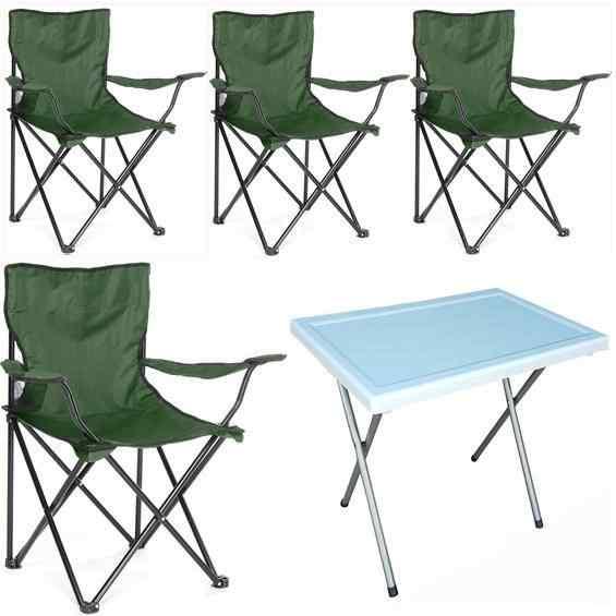 Beco Katlanabilir Kamp Sandalyesi ve Masa Seti Yeşil 4+1