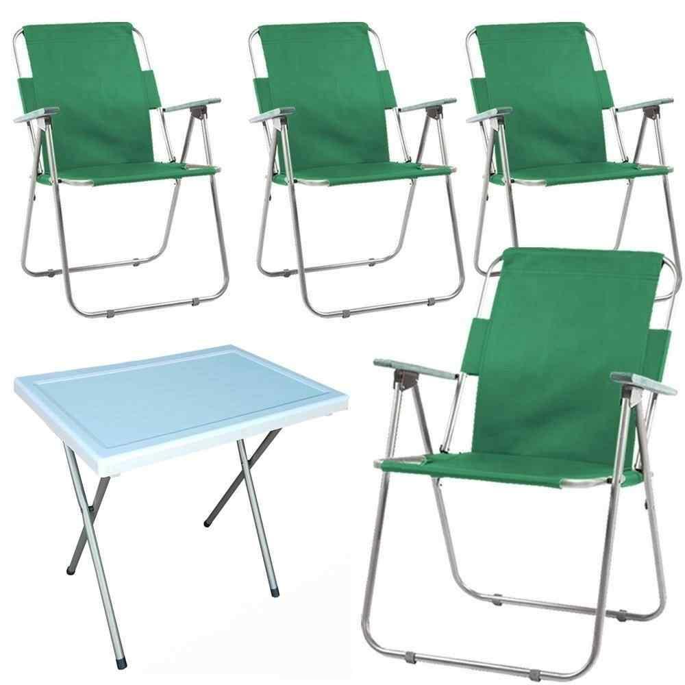 Vesto Katlanabilir Piknik Sandalyesi Ve Portatif Masa 4+1 Yeşil