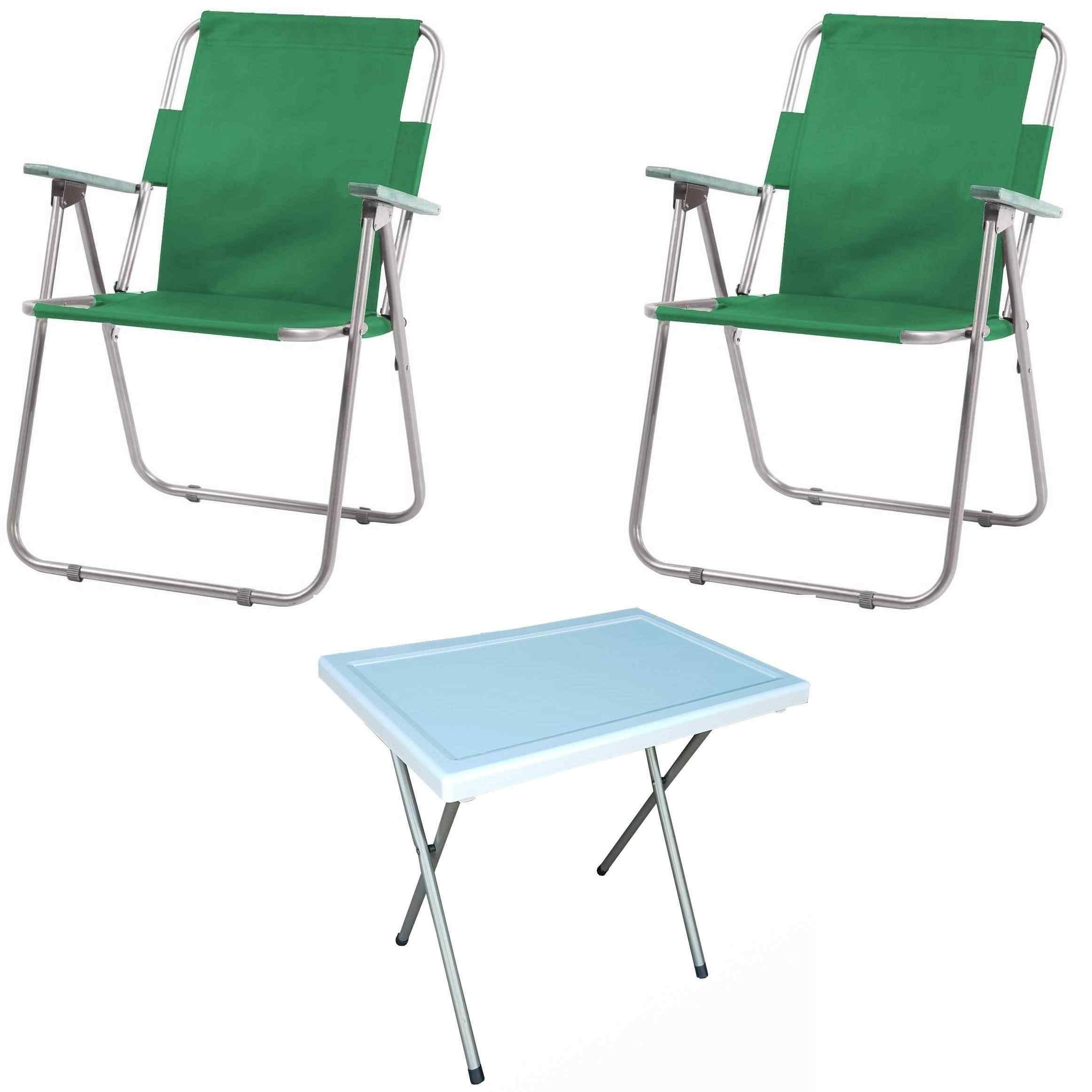 Vesto Katlanabilir Piknik Sandalyesi Ve Portatif Masa 2+1 Yeşil