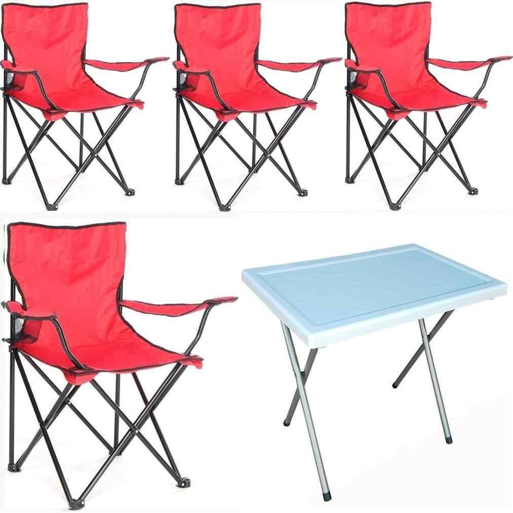 Beco Katlanabilir Kamp Sandalyesi ve Masa Seti Kırmızı 4+1