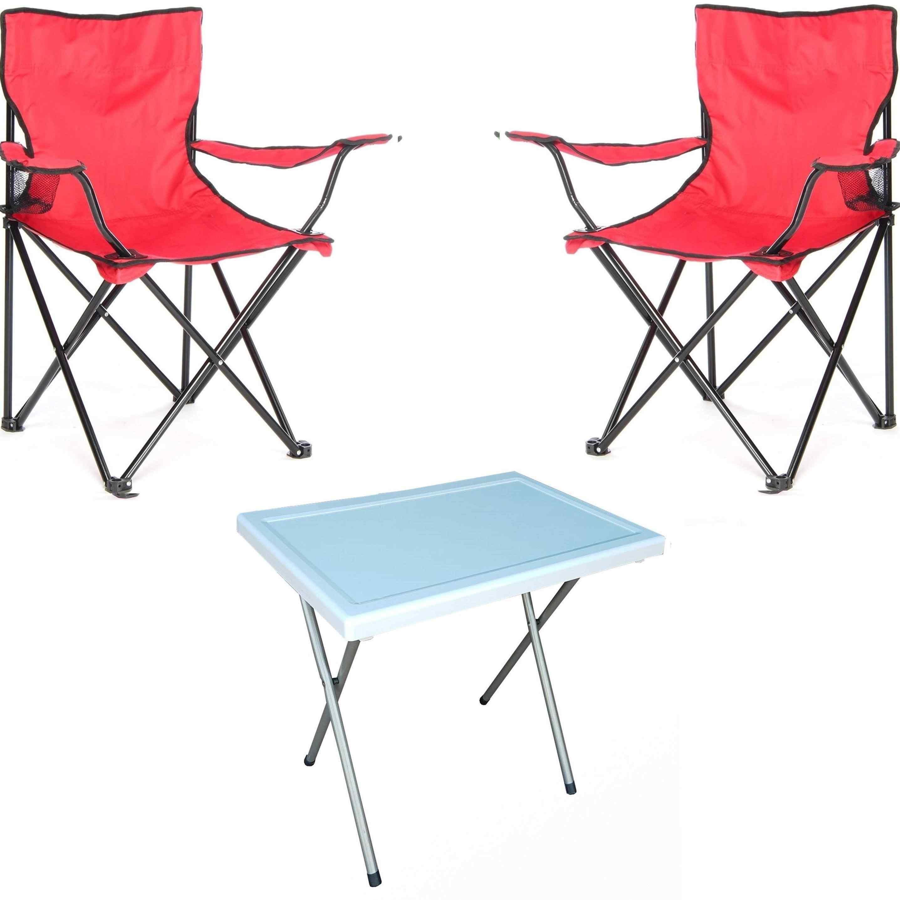 Beco Katlanabilir Kamp Sandalyesi Koltuk ve Masa Seti Kırmızı 2+