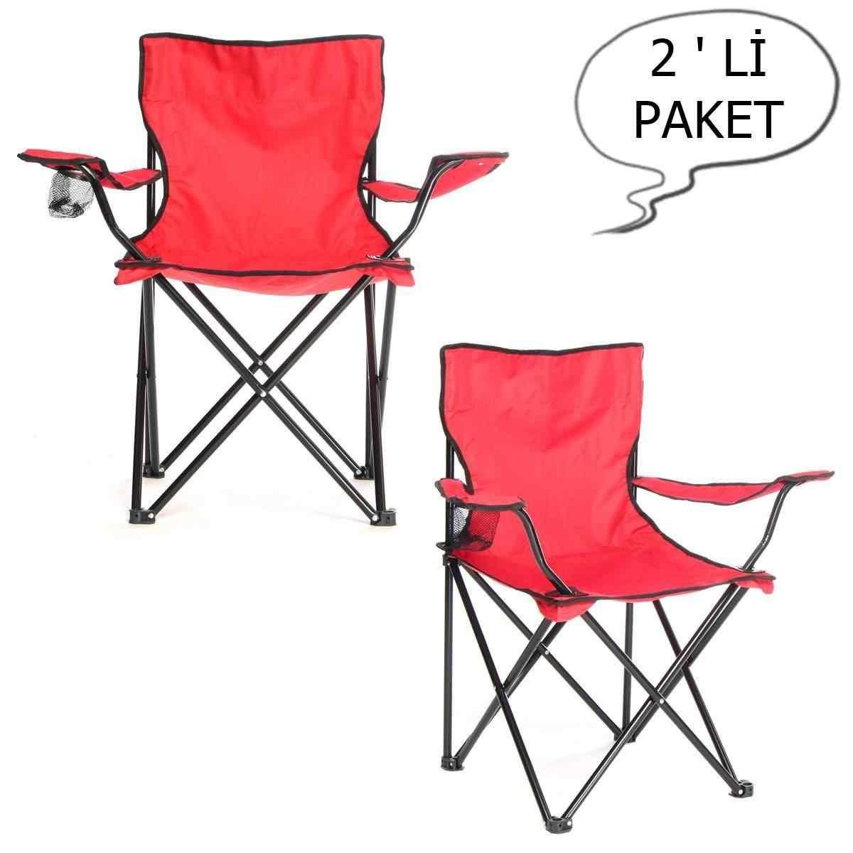 Çantalı Kamp Sandalyesi Balıkçı Plaj Piknik Koltuk Kırmızı 2 Ade