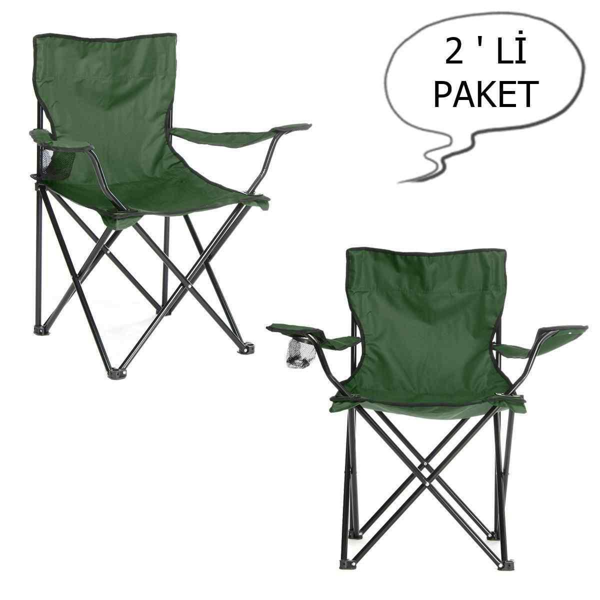 Çantalı Kamp Sandalyesi Balıkçı Plaj Piknik Koltuk Yeşil 2 Adet