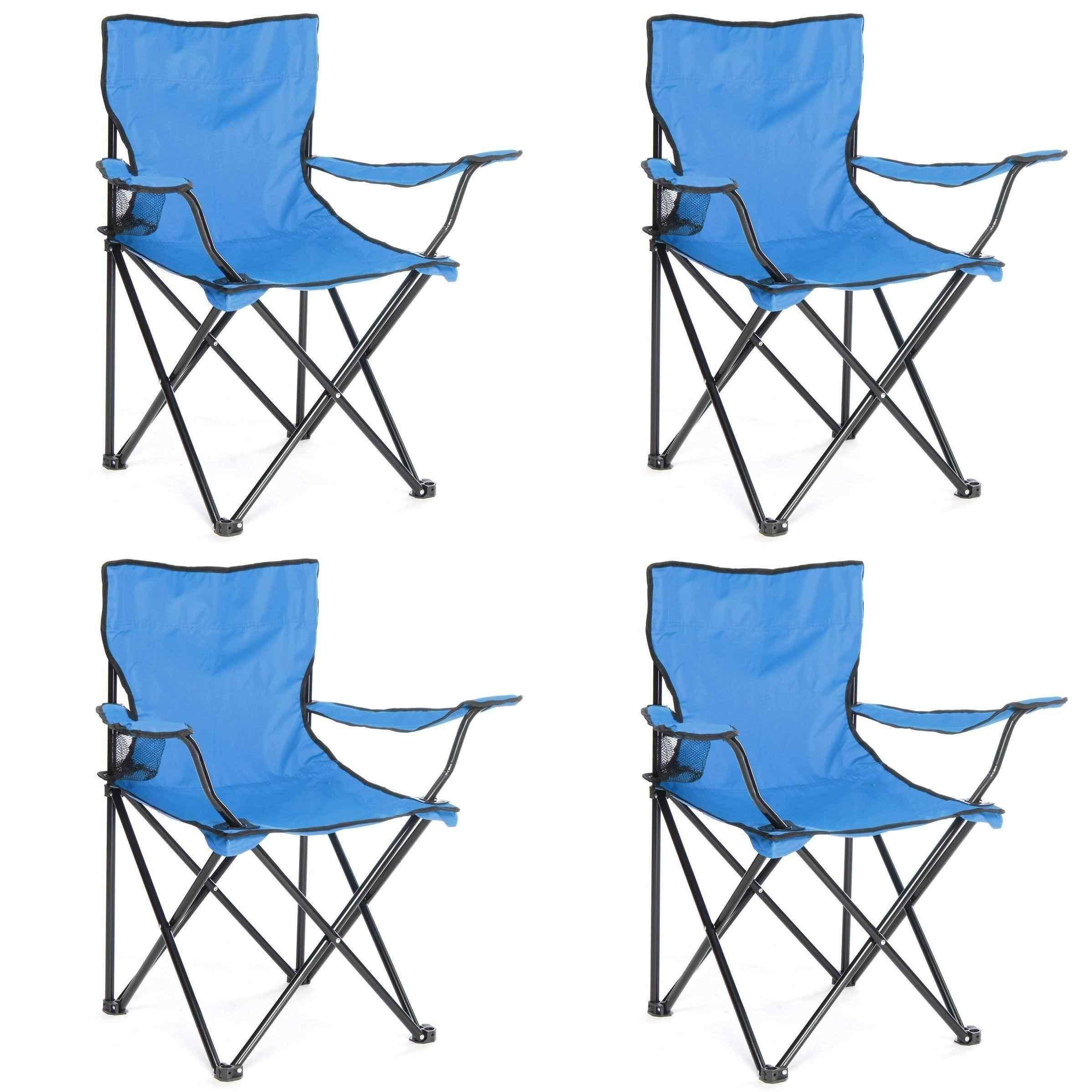 Çantalı Kamp Sandalyesi Balıkçı Plaj Piknik Koltuk Mavi 4 Adet