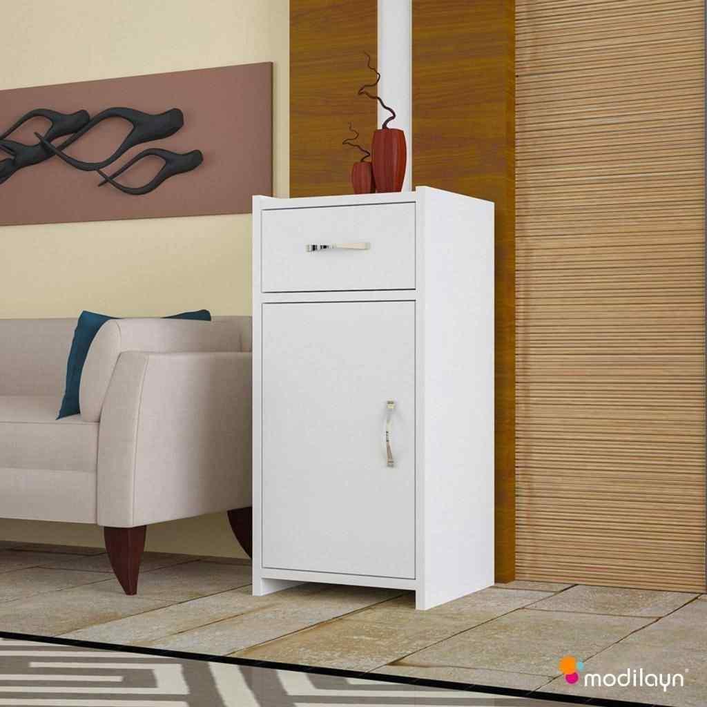 Mobil-Y Slim Tek Çekmeceli Kapaklı Dolap Beyaz Ard130
